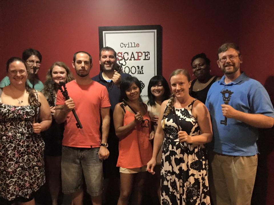 Team Disturbed Friends (Brittany, Corey, Chris, Jason, Mike, Cecelia, Trish, Stephanie and Rohan) found the plans and celebrated Jason's birthday in style. Photo courtesy of Cville Escape Room's Facebook page.