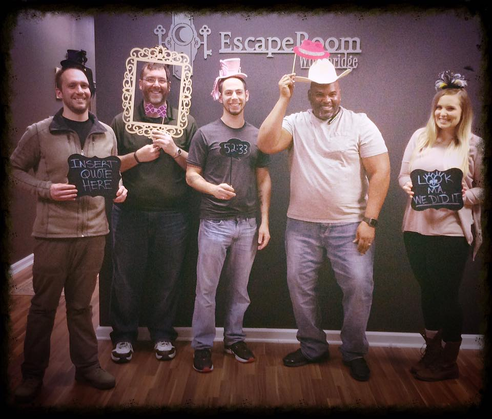"""Another successful escape for team Disturbed Friends. At the EscapeRoom Woodbridge """"Adventures in Wonderland"""" escape room. Photo courtesy of EscapeRoom Woodbridge's Facebook page."""