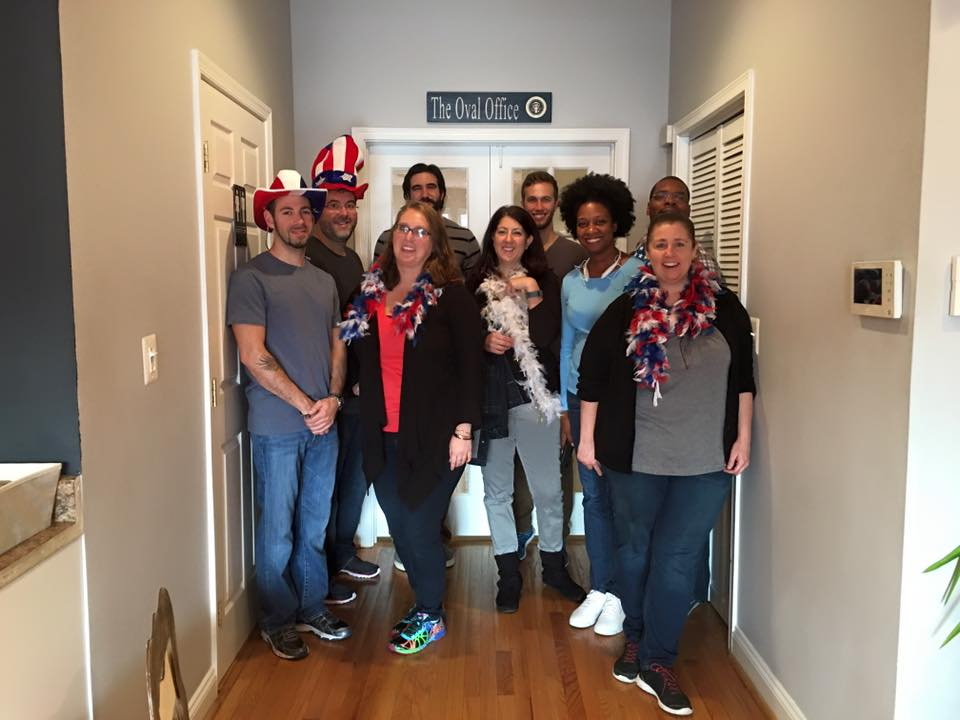 Our first room! The team (Jason, Mike, Steph, Gina, Shanell, Jennifer and Aaron) escaped the Oval Office!